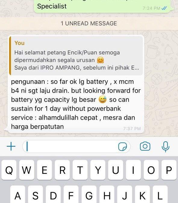 Review Bateri YooBao Daripada Pelanggan iPro Ampang